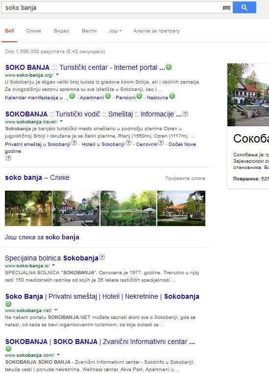 Kada kucate Soko Banja u Google